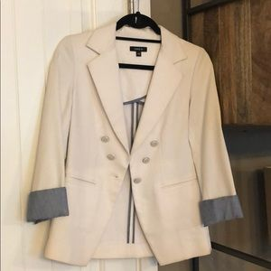 Cute white blazer jacket with denim colored sleeve